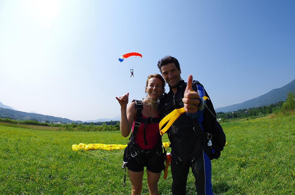 Atterrissage en parachute tandem
